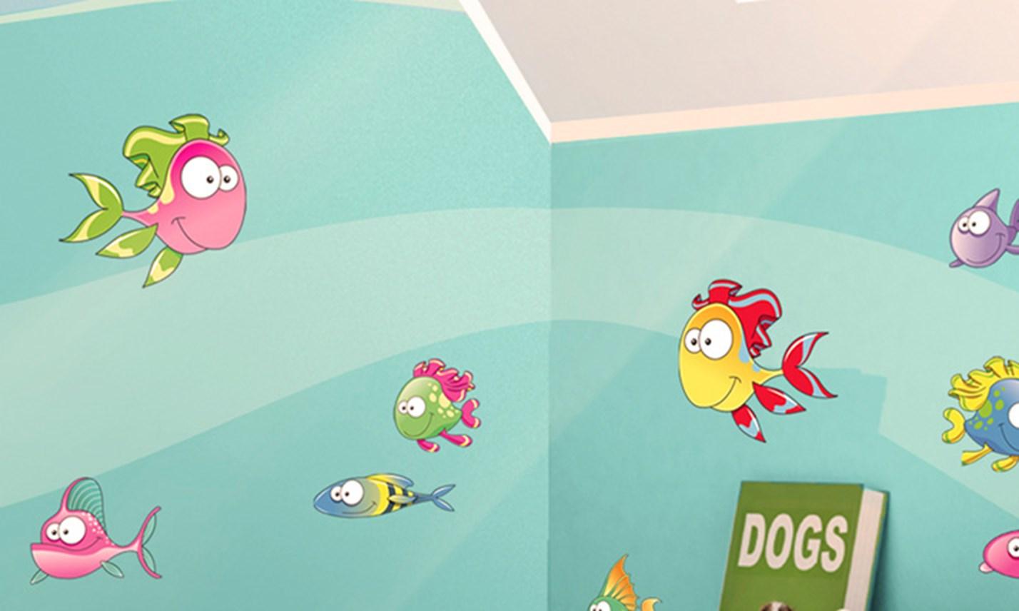 Stickers murali bambini cameretta tra i pesciolini - Decorazioni murali camerette bambini ...